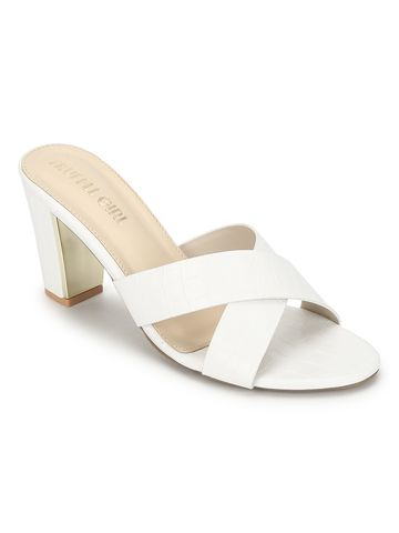 Truffle Collection | White PU Block Heel Slip On Mules