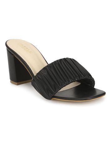 Truffle Collection   Black PU Wrinkled Block Heel Mules