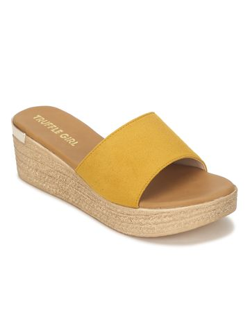 Truffle Collection | Mustard Micro Slip On Wedges