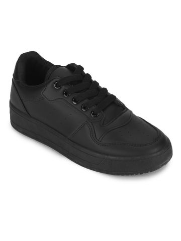 Truffle Collection | Truffle Collection Black PU Lace-Up Sneakers