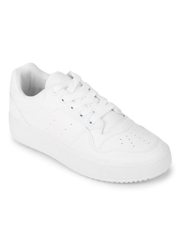 Truffle Collection | Truffle Collection White PU Lace-Up Sneakers