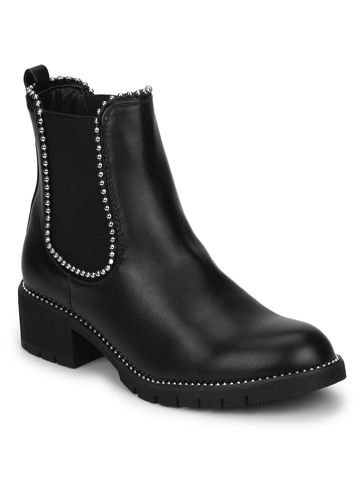 Truffle Collection | Black PU Studded Ankle Boots