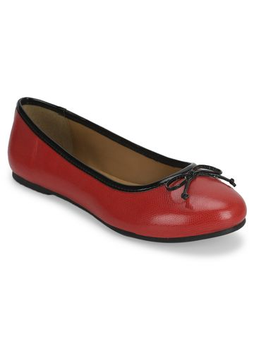 Truffle Collection | Red PU Bowed Ballerinas