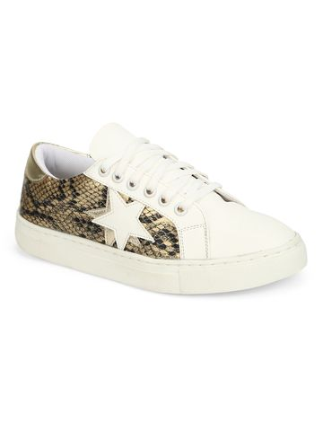 Truffle Collection | Truffle Collection Gold Snake PU Trainers