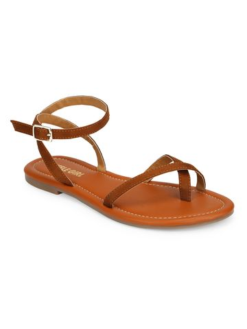Truffle Collection | Truffle Collection Tan Suede Buckle Strap Sandals