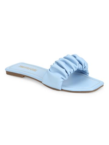 Truffle Collection | Truffle Collection Light Blue PU Wrinkled Strap Slip Ons