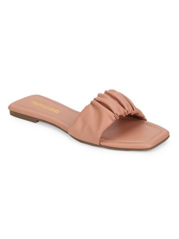 Truffle Collection | Truffle Collection Nude PU Wrinkled Strap Slip Ons