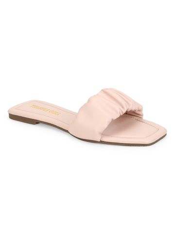 Truffle Collection | Truffle Collection Pink PU Wrinkled Strap Slip Ons
