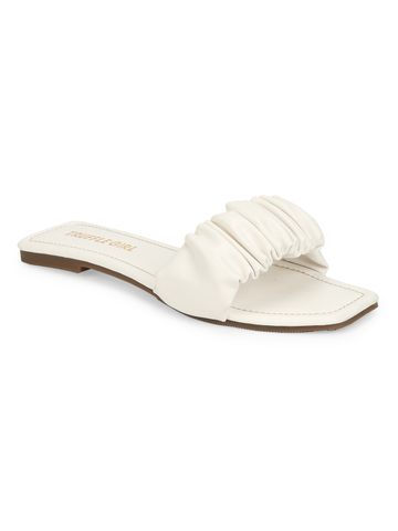 Truffle Collection | Truffle Collection White PU Wrinkled Strap Slip Ons