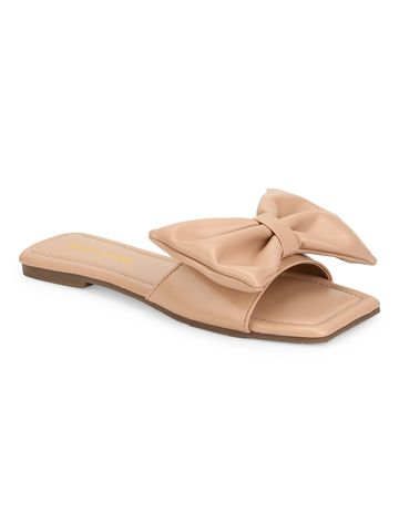 Truffle Collection | Truffle Collection Nude PU Bow Slip Ons