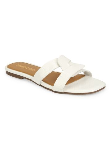 Truffle Collection | Truffle Collection White Croc PU Slip Ons