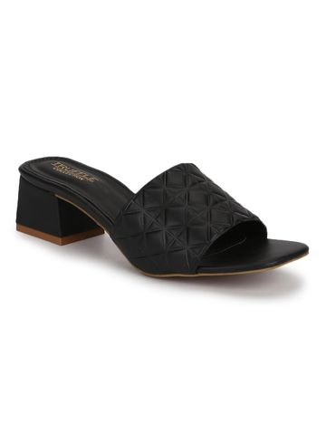 Truffle Collection | Truffle Collection Black PU Textured Block Heel Mules