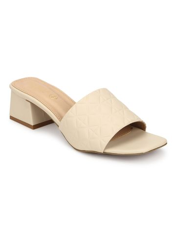 Truffle Collection | Truffle Collection Nude PU Textured Block Heel Mules