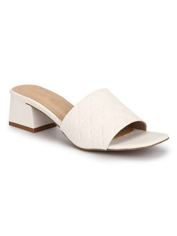 Truffle Collection | Truffle Collection White PU Textured Block Heel Sandals
