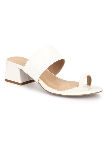 Truffle Collection | Truffle Collection White Patent Textured Slip On Sandals