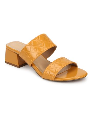 Truffle Collection | Truffle Collection Mustard Patent Textured Low Heel Mules