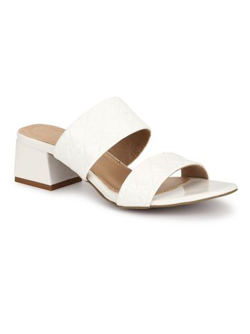 Truffle Collection | Truffle Collection White Patent Textured Low Heel Mules