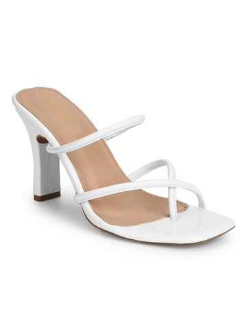 Truffle Collection   Truffle Collection White Patent Glossy High Heel Mules