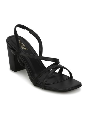 Truffle Collection | Black PU Crossover Strap Block Heel Sandals