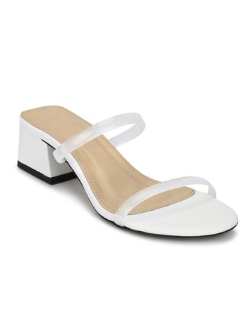 Truffle Collection | White PU Slip On Low Heel Mules