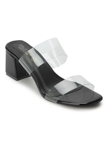 Truffle Collection | Black PU Slip On Mules With Clear Straps