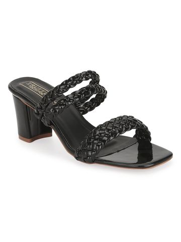 Truffle Collection | Black Patent Braided Block Heel Mules