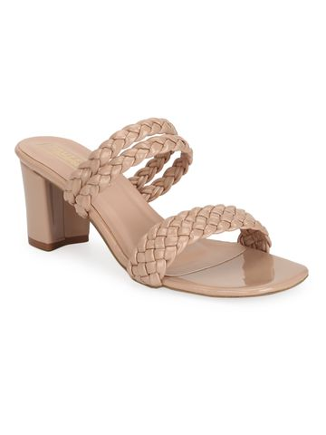 Truffle Collection | Nude Patent Braided Block Heel Mules