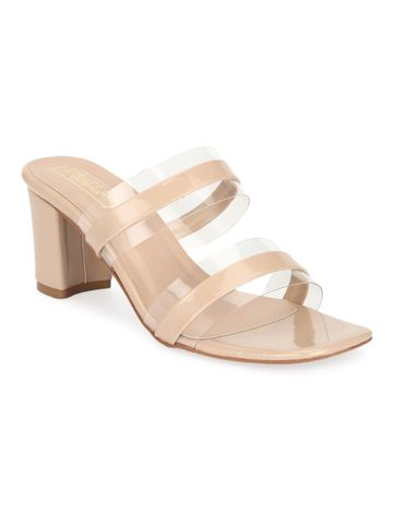 Truffle Collection | Nude Patent Perspex Block Heel Mules