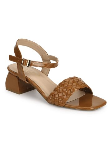 Truffle Collection   Truffle Collection Tan Patent Woven Low Block Heels