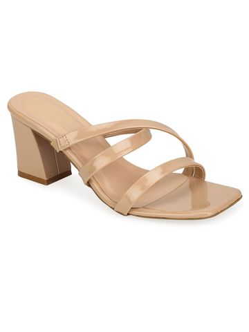Truffle Collection | Truffle Collection Nude Patent Strappy Mules