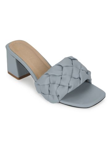 Truffle Collection | Grey PU Mules With Block Heels