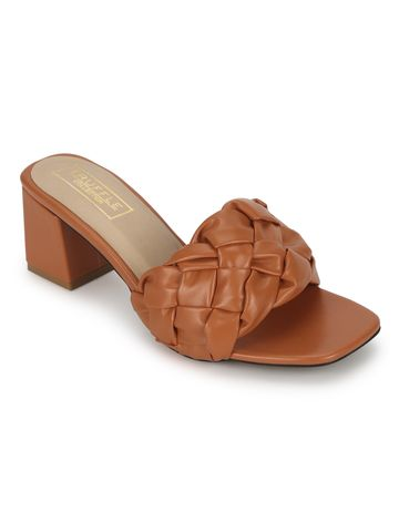 Truffle Collection | Orange PU Mules With Block Heels
