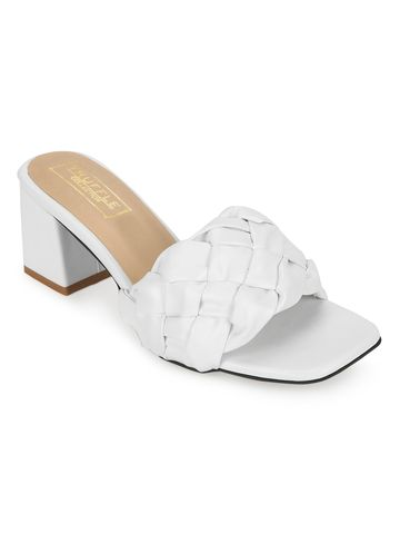 Truffle Collection | White PU Mules With Block Heels