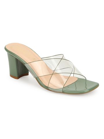 Truffle Collection | Truffle Collection Green Patent Perspex Clear Strap Mules