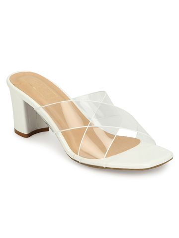 Truffle Collection | Truffle Collection White Patent Perspex Clear Strap Mules