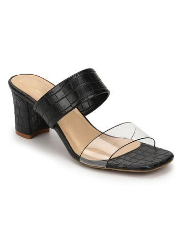 Truffle Collection | Truffle Collection Black Croc PU Clear Strap Mules