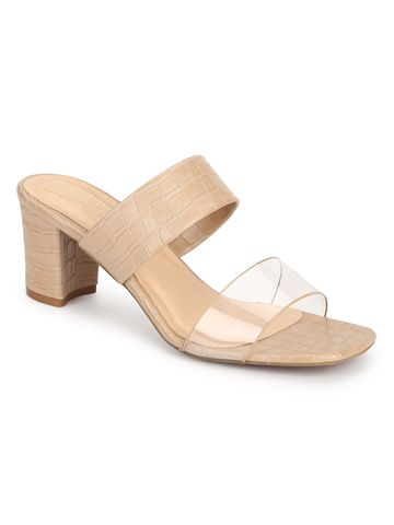 Truffle Collection | Truffle Collection Nude Croc PU Clear Strap Mules