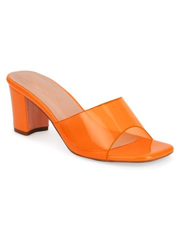 Truffle Collection | Truffle Collection Neon Orange Patent Perspex Clear Strap Mules
