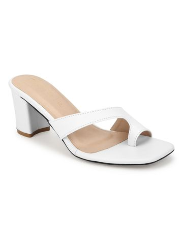 Truffle Collection | White PU Square Toe Block Heels Mules