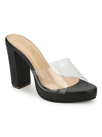 Truffle Collection | Black Perspex PU Block Heel Mules