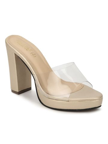 Truffle Collection | Gold Perspex PU Block Heel Mules