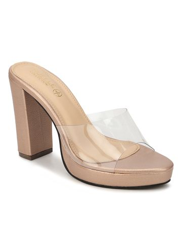 Truffle Collection | RoseGold Perspex PU Block Heel Mules