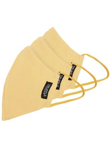Truffle Collection | Yellow Cotton Unisex Pack of 3 Reusable 3-Layer Outdoor Masks