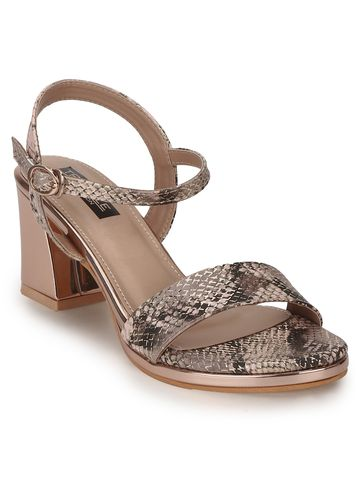Truffle Collection | Rose Gold PU Snake Pattern Sandals