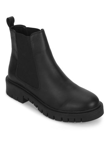 Truffle Collection | Black PU Cleated Bottom Ankle Boots