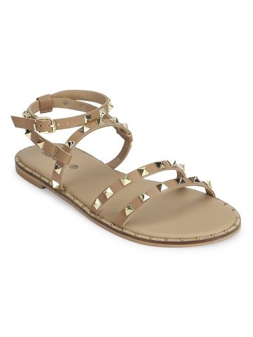 Truffle Collection | Beige PU Studded Flat Sandals