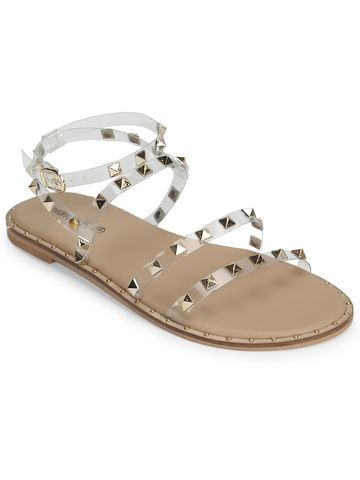 Truffle Collection | Clear PU Studded Flat Sandals