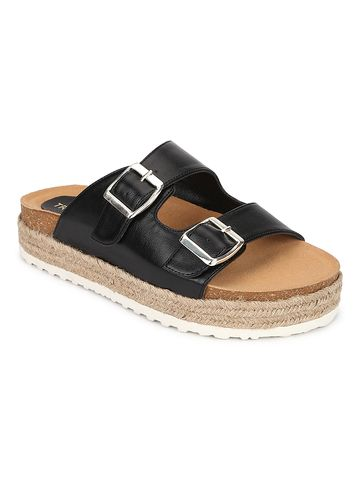 Truffle Collection | Truffle Collection Black PU Side Buckle Wedges Espadrilles Sandals