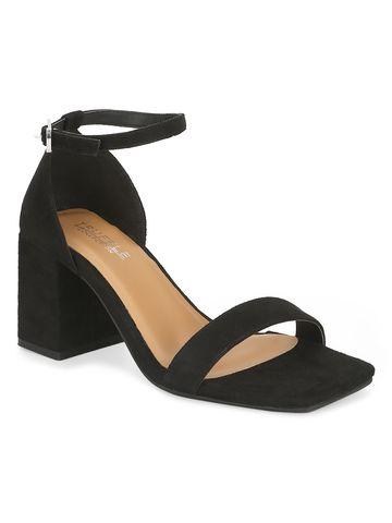 Truffle Collection   Black Suede Block Heel Sandals