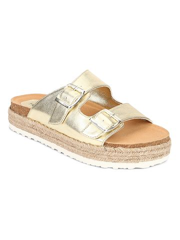 Truffle Collection | Truffle Collection Gold PU Side Buckle Wedges Espadrilles Sandals
